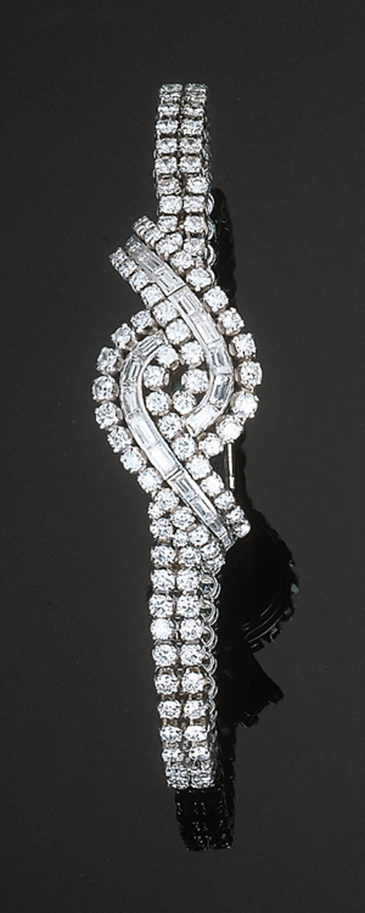 A Diamond Bracelet Watch by Ca