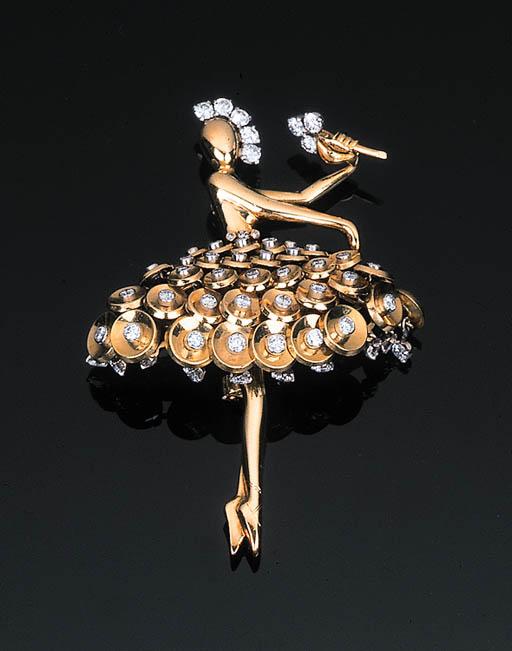 A Diamond-set Ballerina Brooch
