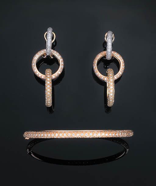 A Pair of Diamond-set Tri-colo