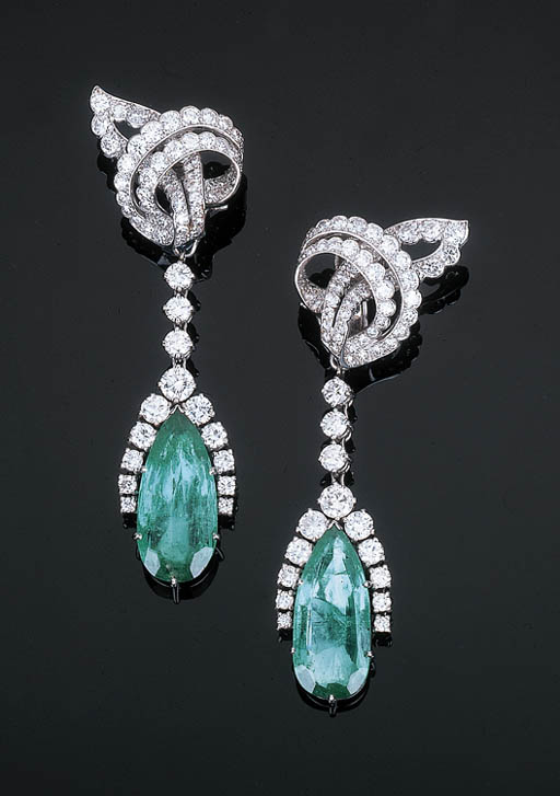 A Pair of Diamond Ear Clips wi