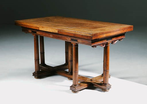 A FRENCH WALNUT, EBONISED AND