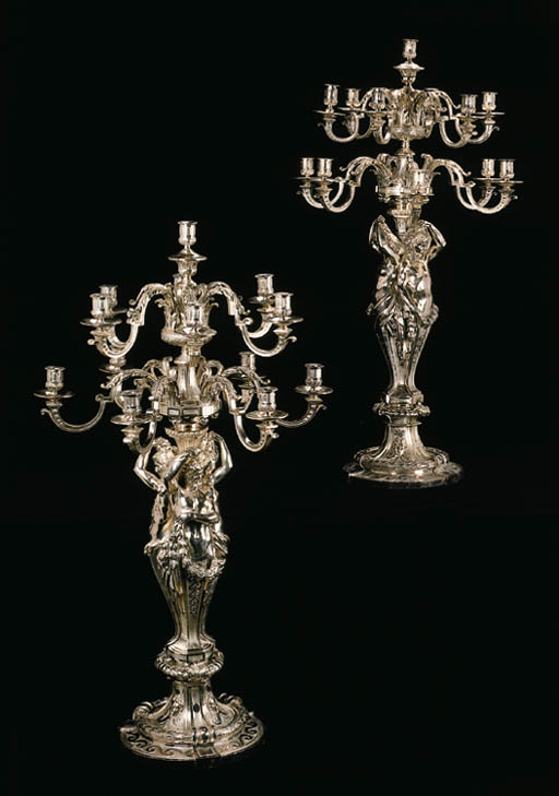 A pair of French silver thirte