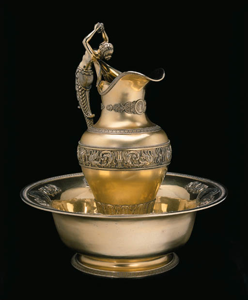 A French silver-gilt ewer and