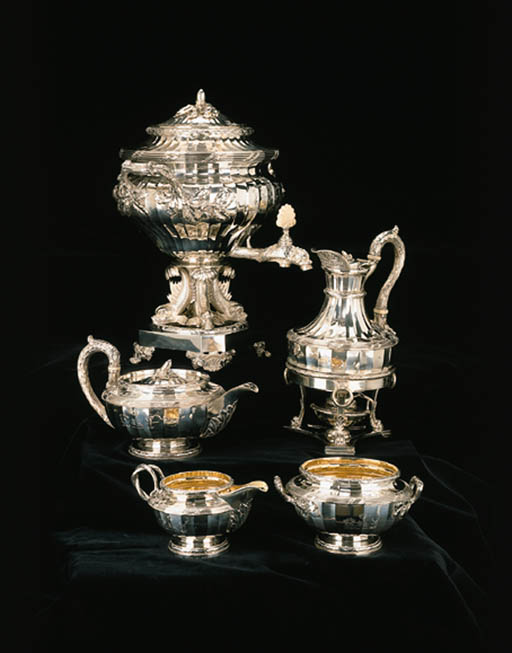 A George III silver five-piece