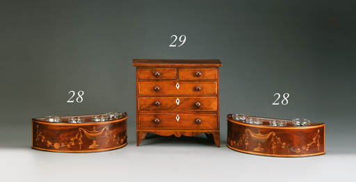 A PAIR OF MAHOGANY AND MARQUETRY JARDINIERES