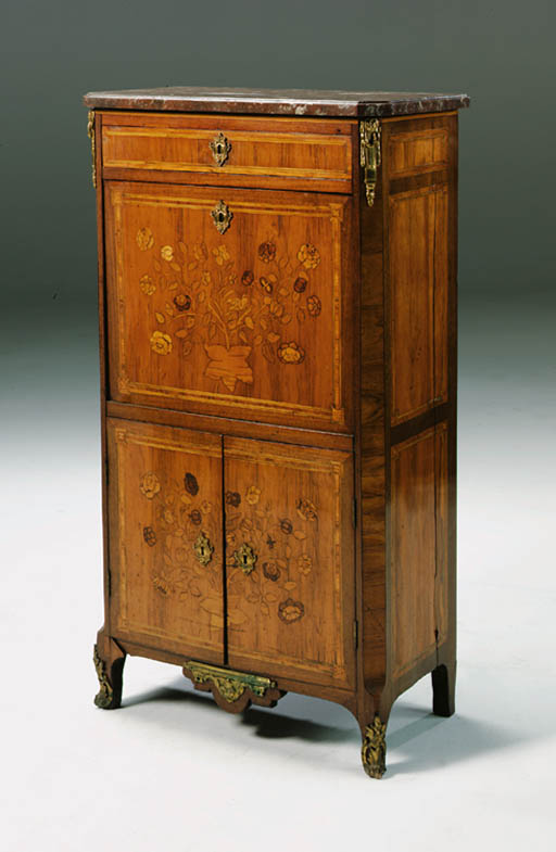 AN ORMOLU-MOUNTED TULIPWOOD AND MARQUETRY SECRETAIRE A ABATTANT