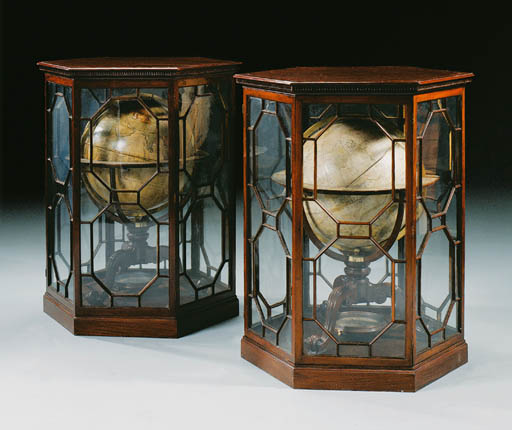A PAIR OF GEORGE III 18 INCH GLOBES ON MAHOGANY STANDS IN THEIR GEORGE III DISPLAY-CASES