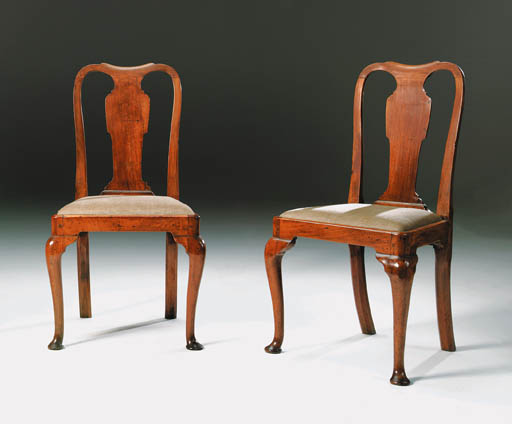 A SET OF SIX GEORGE I WALNUT DINING-CHAIRS