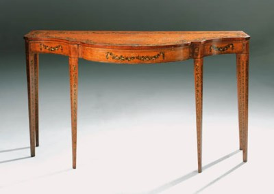 A SATINWOOD AND POLYCHROME-PAI