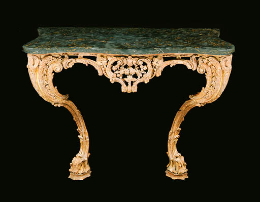 A GEORGE II GILTWOOD CONSOLE TABLE