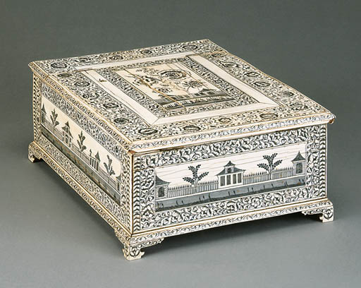 AN ANGLO-INDIAN IVORY BOX