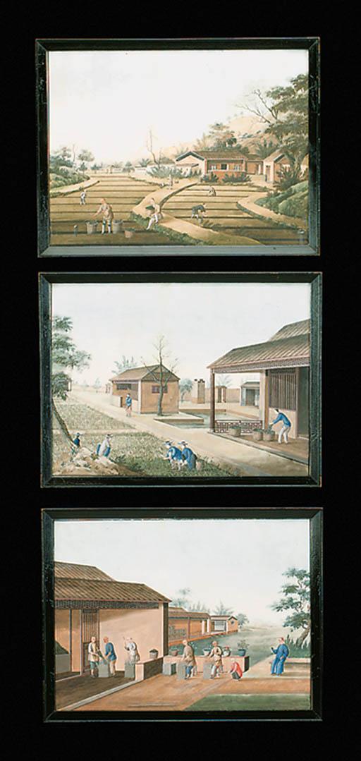 A SET OF THREE CHINESE SCHOOL
