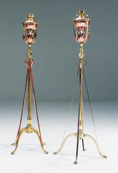 A pair of brass and copper sta