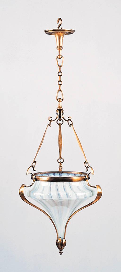 A brass chandelier