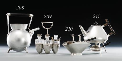 A silver and ebony sugar basin