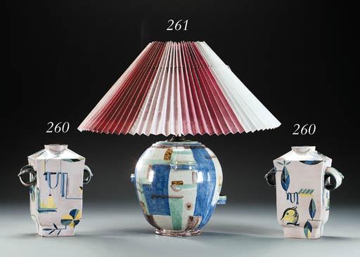 A glazed terracotta table lamp