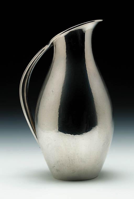 A silver pitcher