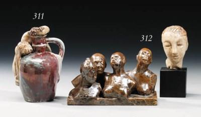 A Lustre-Glazed Figural Vase