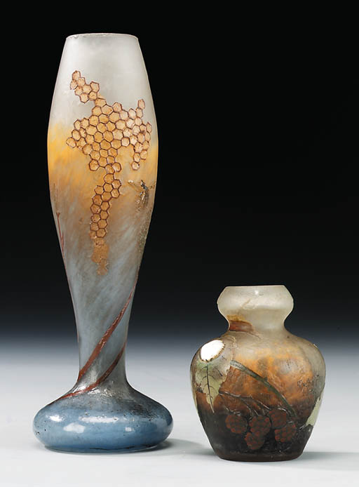 Two Etched and Enamelled Glass