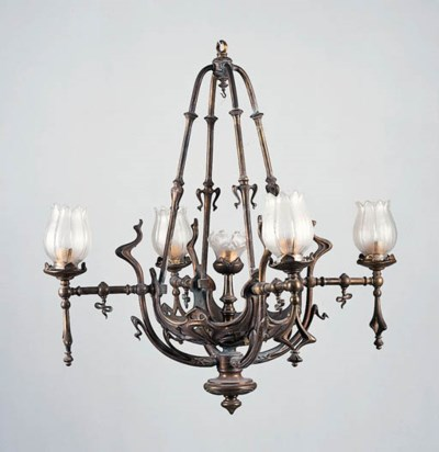 A Bronze and Glass Chandelier