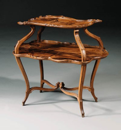 A marquetry two-tier table