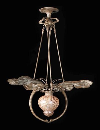 A bronze chandelier