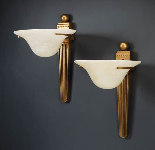 A PAIR OF GILT BRONZE AND ALAB