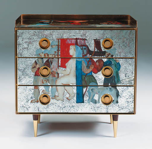 A painted mirror-glass chest o