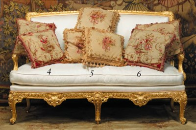 Three Aubusson tapestry cushio