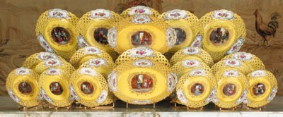 A Vienna lemon-ground porcelai