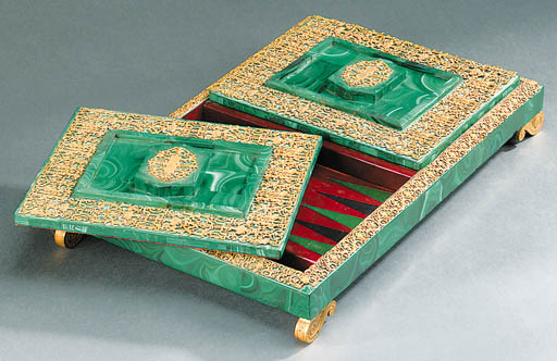 An ormolu-mounted malachite ba