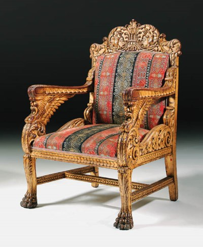 An Italian giltwood throne cha