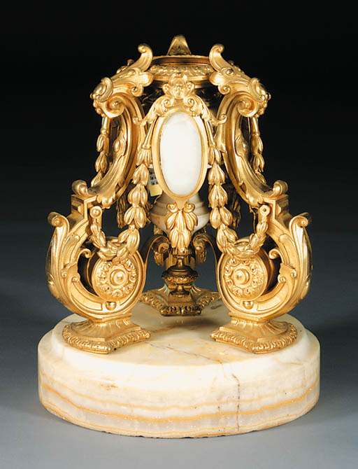 A French ormolu and onyx lamp