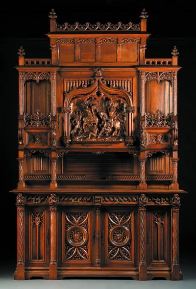 A French carved walnut side-ca