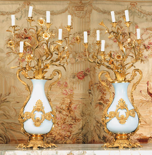 A pair of French ormolu and op