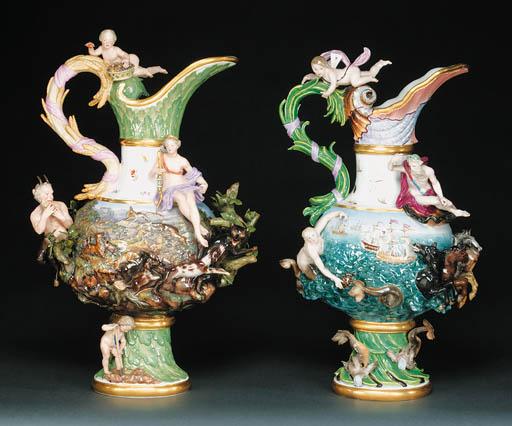 A pair of Meissen ewers, emble