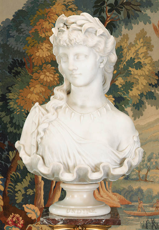 A white marble bust of Undine