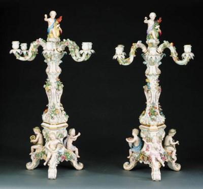A pair of Meissen six-branch c