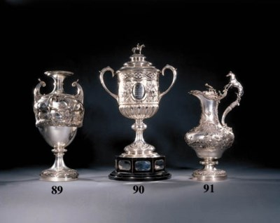 A large Victorian silver ewer