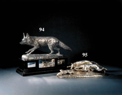 A silver plated sculpture