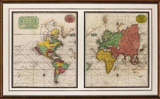 COVENS, Johannes (1696-1722) and Cornelis MORTIER (1699-1783). Carte Generale de toute les costes du monde et les pays nouvellement decouvert. Amsterdam: n.d.