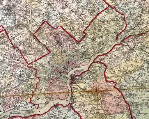 LAKE, D.J. and S.N. BEERS. Map of the vicinity of Philadelphia. Philadelphia: J.E. Gellette & Co., 1861.