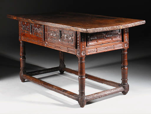 A WALNUT SIDE TABLE