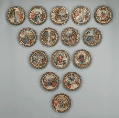 A SET OF FIFTEEN POLYCHROME AN