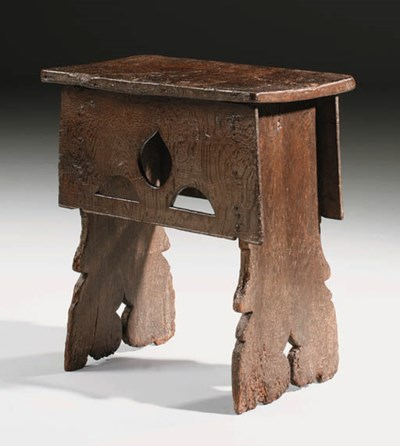 AN OAK BOARDED STOOL