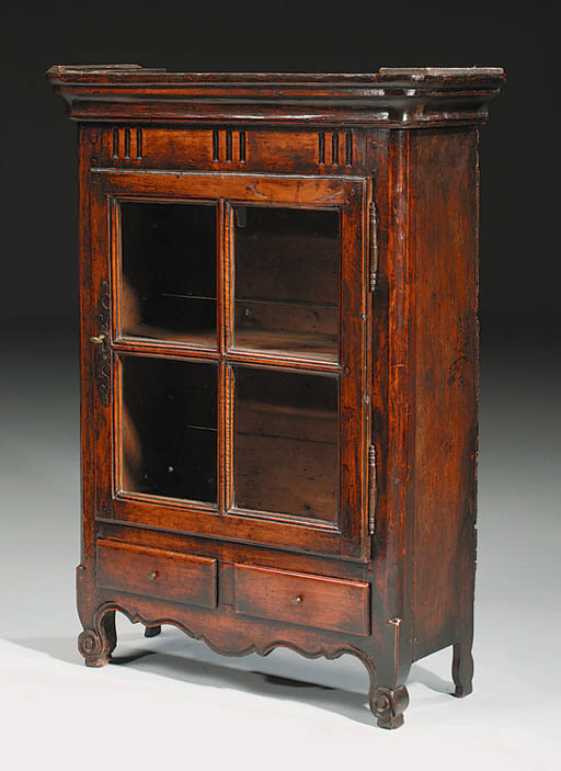 A FRUITWOOD HANGING CUPBOARD