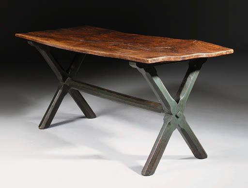 AN ELM X-FRAMED TABLE
