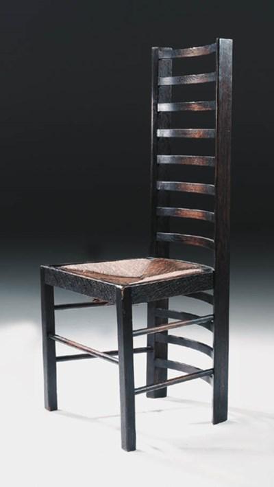 An ebonised oak ladderback cha