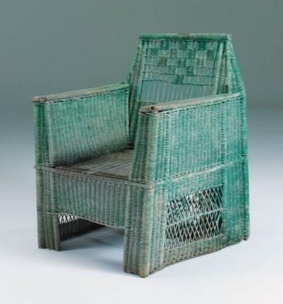 A wicker armchair