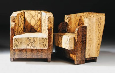 A pair of palmwood and snake s